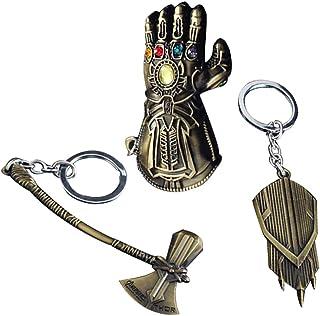 Avengers Keychain Superhero Key Ring - 3PCS Novelty Cosplay Accessories Thor Hammer Pendant Thanos Glove for Unisex Adult