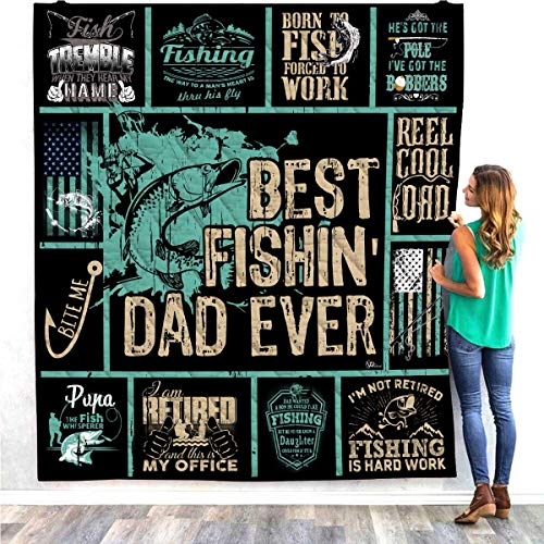 Best Fishing Dad Ever Quilt Pattern Blanket Comforters with Reversible Cotton King Queen Full Twin Size Reel Cool Dad Birthday Christmas Quilted Gifts for Daddy Father Husband Son Daughter Kids Wife