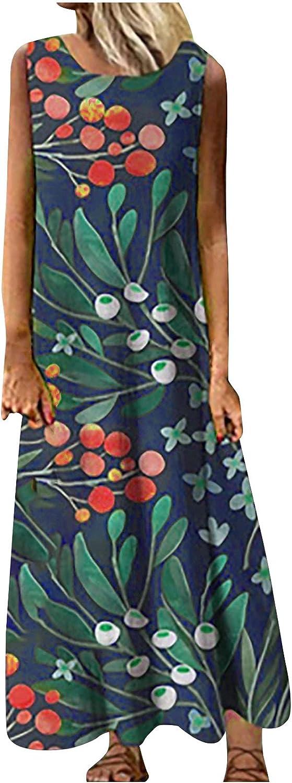 Akklian Summer Dresses for Women Shift Crewneck Sleeveless Floral Dress Ladies Casual Beach Party Dress