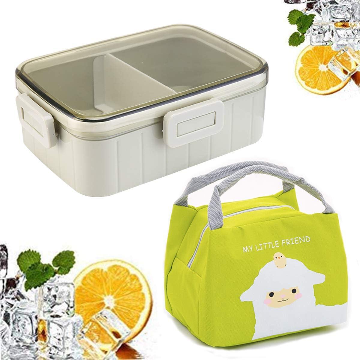Lunch Box Infantil, Jicyor Caja de Bento Plastico Portátil Caja de Almuerzo 2 Compartimentos Fiambrera Contenedores de Alimentos con Térmica Bolsa para Meal Prep Comidas Conservación