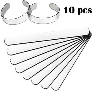 FERCAISH 10 Pcs Bracelet Blanks Stainless Steel Blank Bracelet, Stainless Steel Inner Core Ring Shaping Mold DIY Bracelet for Making Presents Customizing, 2/5 x 6 Inch