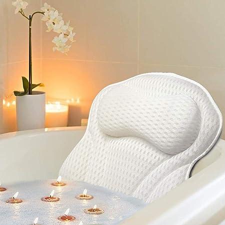 LOFFU Cuscino per vasca da bagno, con 6 ventose, ergonomico, per appoggiare, testa per spa, Jacuzzi con tecnologia 4D Air Mesh per allentare schiena e collo