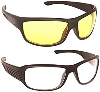 Dervin Wrap Unisex Sunglasses (White, Yellow) - Pack of 2