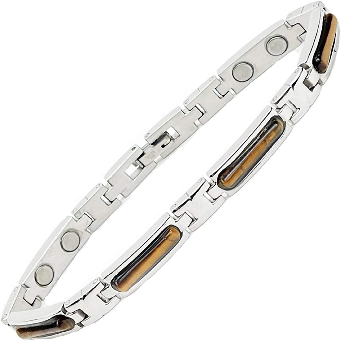 Accents Kingdom Women's Tiger's Branded goods Eye Magnetic Free shipping anywhere in the nation Steel Stainless Gol