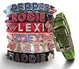 Bling Stuff For Fun, Personalized Customized PU Leather Glitter Rhinestone Bling Name Collar for Dogs & Puppies, S, M