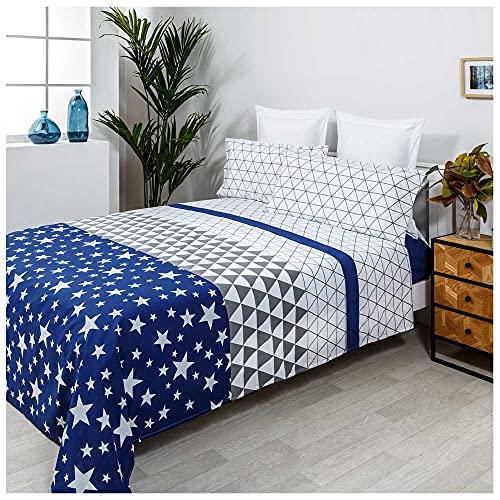 COTTON ARTean Juego de sabanas Triangle Azul Cama de 105 x 190/200. 50% ALGODÓN-50% Poliester.