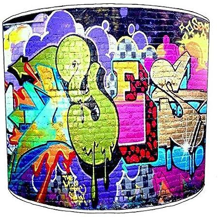 Premier Lighting Ltd 12 inch Brick Wall Graffiti Wall Art Abat-Jour 1 pour Une Lampe de Table