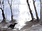 Greyhound Art Whippet Lurcher Galgo Dog Painting Artwork Print Birthday Gift - [A4 Mounted Print with 11 x 14' Mount] - 'Run Free, Mystical Woods' - A4,A5,A6 Sizes