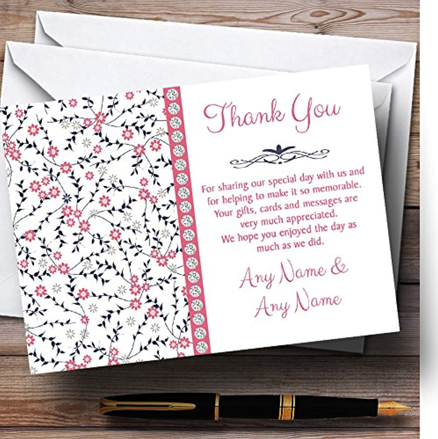 Dusty Coral Pink And Navy bluee Floral Personalised Wedding Stationery Thank You Cards