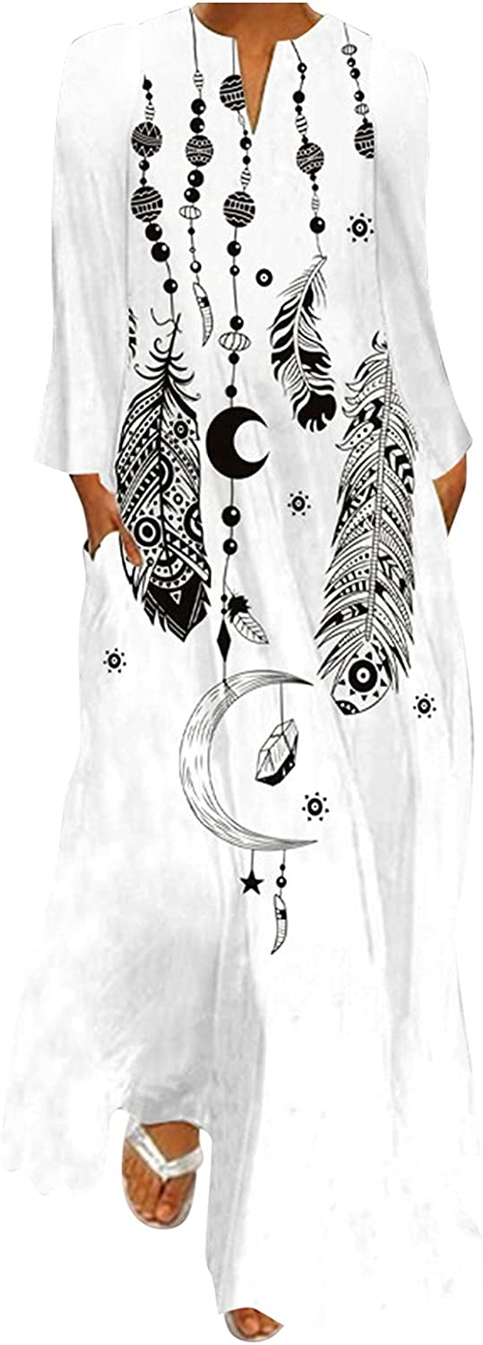GCETTIC Dresses for Womens, Casual Womens Vintage Printed Maxi Dress Loose Long Sleeve Plus Size T-Shirt Long Dress