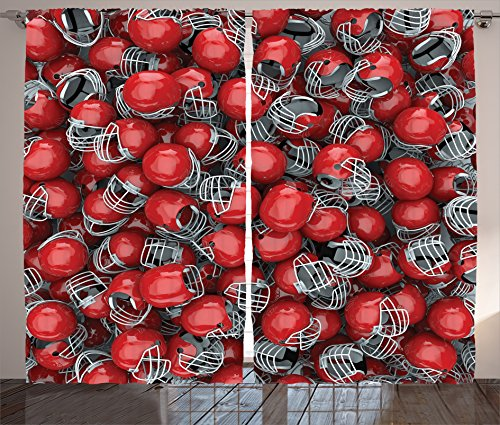 Ambesonne Sports Decor Collection, College Football Helmets Headgear Competition Defense Sportsman Image Pattern, Living Room Bedroom Curtain 2 Panels Set, 108 X 84 Inches, Red and Dimgray