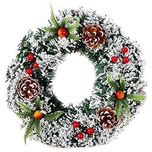 Jixista Corona de Navidad De Puerta Decoración Navideña Corona Puerta Colgante Chimenea Guirnalda Decorativa de Navidad Artificial decoración de Corona de Navidad de Cono de Pino y Bayas 30CM