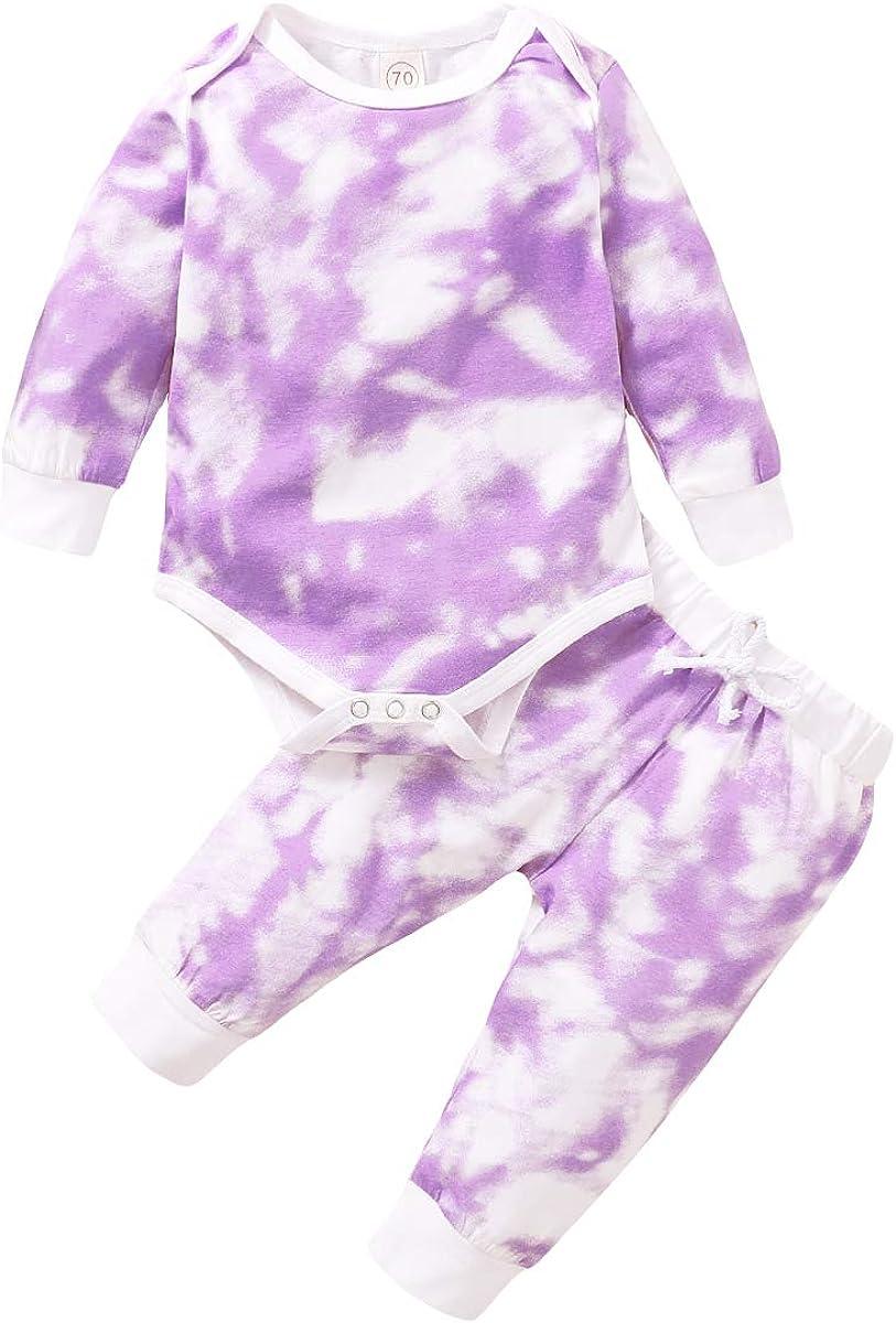 Unisex Baby Girl Boy Clothes Solid Long Sleeve Romper Bodysuit Tops Pants 2PCS Outfit Clothes Set