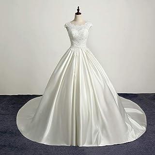 mylyfu Simplicité Élégante Robe de Mariée Pour Femmes 's en Mousseline de Soie un Mot Col Épaule Dentelle Appliques Robe d...