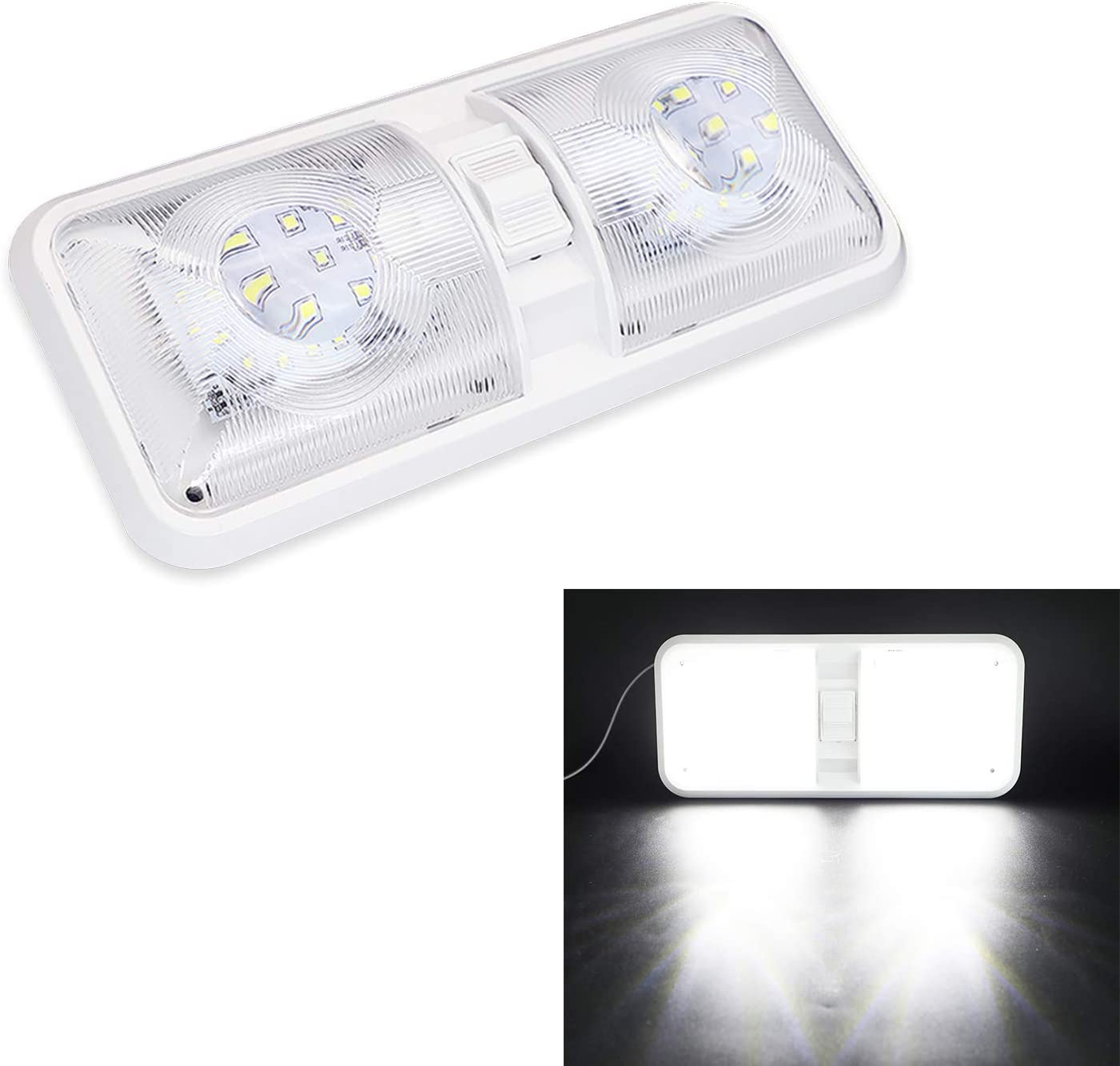 Kingshowstar High material RV LED Ceiling Double Manufacturer OFFicial shop Natural Light Cam Dome White