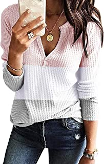 Dellytop Womens V Neck Shirts Long Sleeve Waffle Knit Loose Fitting Warm Tee Tops