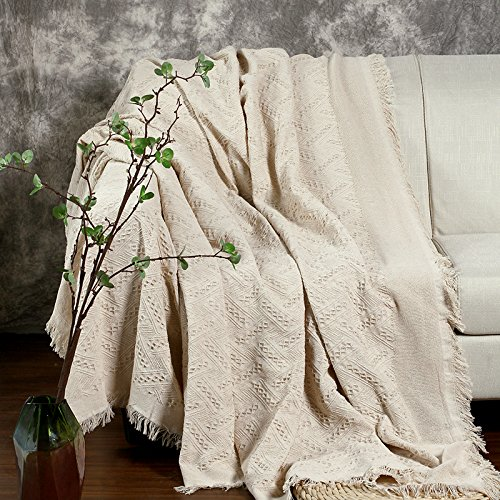 Coralov Grandi dimensioni filo di cotone copridivano copripoltrona copriletto coperta con nappe per 2o 3posti 230x 250cm-bianco