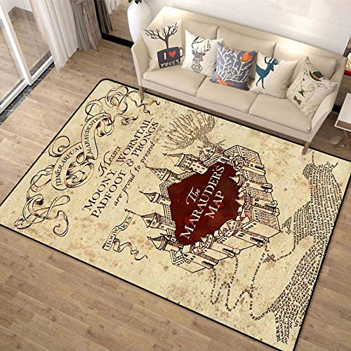 CXJC Impression 3D et teinture Harry Potter Cartoon tapis de dessin animé, Magic College World Carte de plancher American Retro Tapis de plancher, Salon Canapé Chambre à coucher Chambre à coucher de c