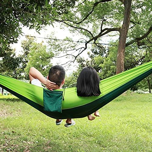 KUIDAMOS Hamaca de Camping compacta Duradera, Ligera, Correa de árbol de 300 kg, Cama Colgante portátil para Interiores y Exteriores(Fruit Green Fight Dark Green)