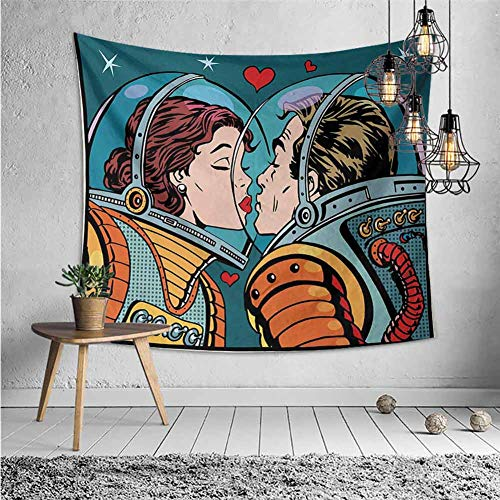 jecycleus Love Tapastry Wall Hanging Decor Space Man and Woman Valentines Kissing Science Cosmos Couple Pop Art Design Print Trippy Tapestry Wall Decor W62.8 x L62.8 Inch Multicolor