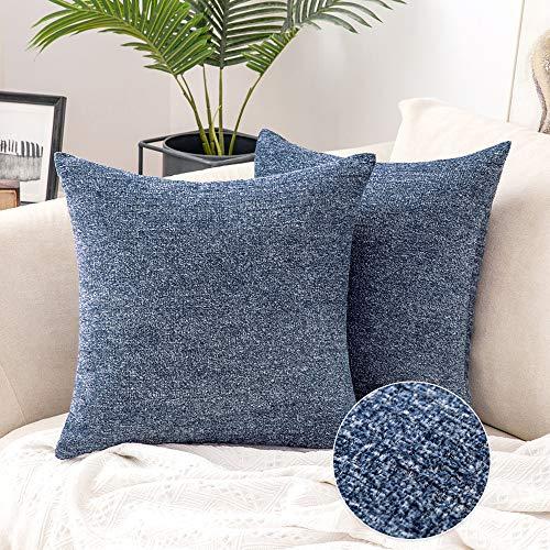 MIULEE 2er Set Chenille Kissenbezug mit Interlaced Textur Dekorative Sofakissen mit Verstecktem Reißverschluss Dekoration Kopfkissen Modern für Sofa Schlafzimmer Wohnzimmer 50x50 cm Navy Blau