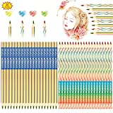 Yuehuabao 40Pcs Lápices de Colores 4 en 1 Lápices Coloridos Arcoiris de Dibujo de Madera para Niños Lápices Mágicos Coloridos Arcoiris 4 en 1 para Dibujar y Colorear