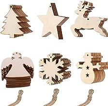 Anyasen basteln Weihnachten 60 Stücke Weihnachtsanhänger Tannenschmuck DIY Weihnachtsdekoration Holz Scrapbooking Holz Scheiben Holz Elch Schneeflocke Weihnachtsbaum mit Juteseil zum selbst bemalen