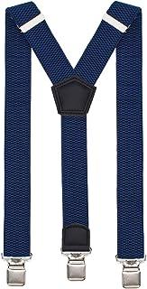 Suspenders for Men Heavy Duty 1-1/2 inch High Elastic Brace with Super Strong Metal Clips Y Shape Suspender Belt