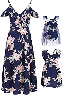 Mommy and Me Dresses Floral Print Cold Shoulder Ruffle Backless Strap Romper Beach Midi Dress Summer