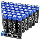 PilePow 42 Unidades, Pilas alcalinas AAA, Industrial 1.5 V LR03 Almacenamiento de 10 años baterías Desechables para Juguetes, Reloj Despertador, Control Remoto portátil y Otros Dispositivos Diarios