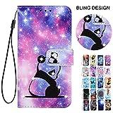 Rose-Otter für Handyhülle Samsung Galaxy A41 Hülle Leder Wallet PU Flip Hülle Klappbar Kartenfach Glitzer Tasche Schutzhülle Cover Muster Cute Panda