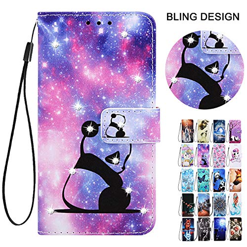 Rose-Otter für Handyhülle Samsung Galaxy A41 Hülle Leder Wallet PU Flip Case Klappbar Kartenfach Glitzer Tasche Schutzhülle Cover Muster Cute Panda