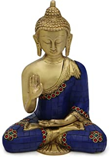 Buddha Groove Meditating Brass Buddha Statue in No Fear Hand Pose (Abhaya Mudra) with a Symbols Booklet