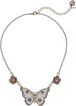 Betsey Johnson White Flower and Butterfly Pendant Necklace