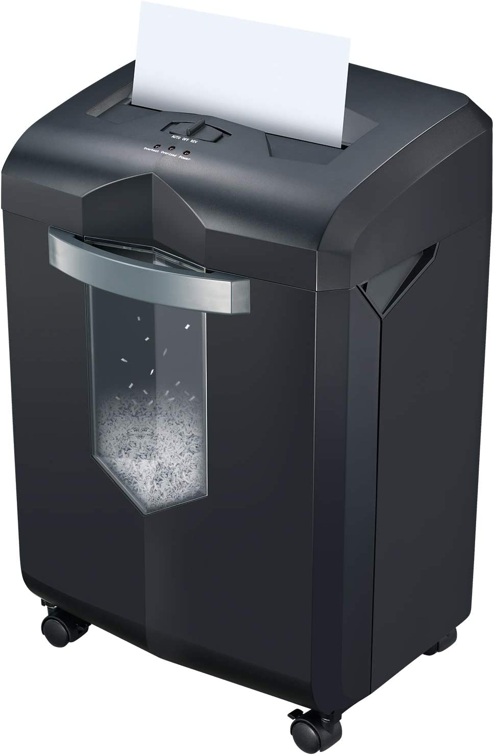 Bonsaii 14-Sheet Micro-Cut Paper Shredder, Heavy Duty Paper/CD/Card Ultra Quiet Shredder for Home Office with 6-Gallon Pullout Wastebasket and 4 Casters, 60 Minutes Running Time, Black