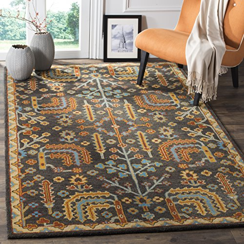 Safavieh Heritage Collection HG409A Handmade Traditional Wool Area Rug, 8' x 10', Charcoal/Multi