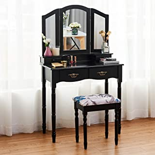 Giantex Vanity Set with Tri-Folding Mirror, Makeup Dressing Table with 4 Drawers and Storage Shelf, Modern Bedroom Bathroom Makeup Vanity Desk with Cushioned Stool for Girls Women (Black)