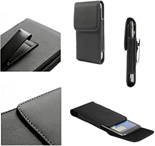 DFV mobile - Leather Flip Belt Clip Metal Case Holster Vertical for Nokia Lumia 520 - Black