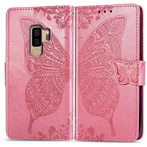 Jeewi Hülle für Galaxy S9+ (S9 Plus) Hülle Handyhülle [Standfunktion] [Kartenfach] [Magnetverschluss] Tasche Etui Schutzhülle lederhülle klapphülle für Samsung Galaxy S9+ /G965F - JESD020456 Rosa
