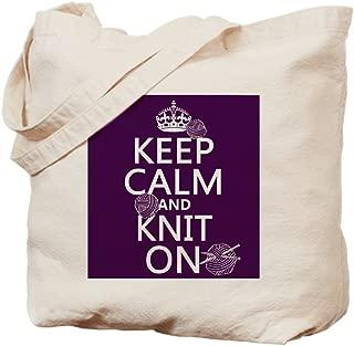 CafePress Keep Calm And Knit On Natural Canvas Tote Bag, Reusable Shopping Bag