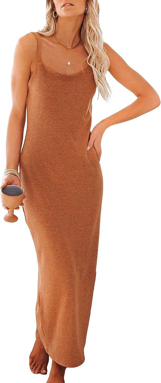 Japan's largest Colorado Springs Mall assortment Yanekop Womens Summer Ribbed Midi Dress Long Spaghetti Strap Dre