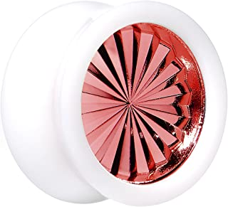 "Body Candy 5/8"" White Acrylic Red Flashy Tire Rim Saddle Ear Gauge Plug (1 Piece)"