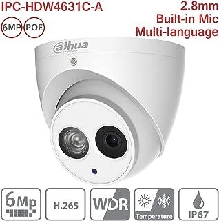 Dahua 6MP Dome Camera IPC-HDW4631C-A 2.8mm IP PoE Built-in Mic H265 Eyeball Turret Network Security Camera IP67 Indoor ONVIF International Version