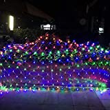 12ft x 5ft 360 LED Connectable Christmas Net Lights,8 Modes Low Voltage Mesh Fairy String Lights for Christmas Trees, Bushes, Wedding, Garden, Outdoor Decorations (Multicolor)