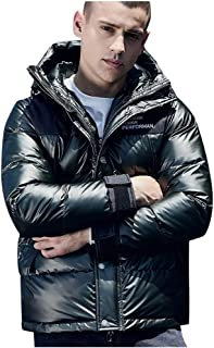 iYYVV Mens Casual Autumn Winter Letter Printed Jackets Long Sleeve Hoodies Down Coat