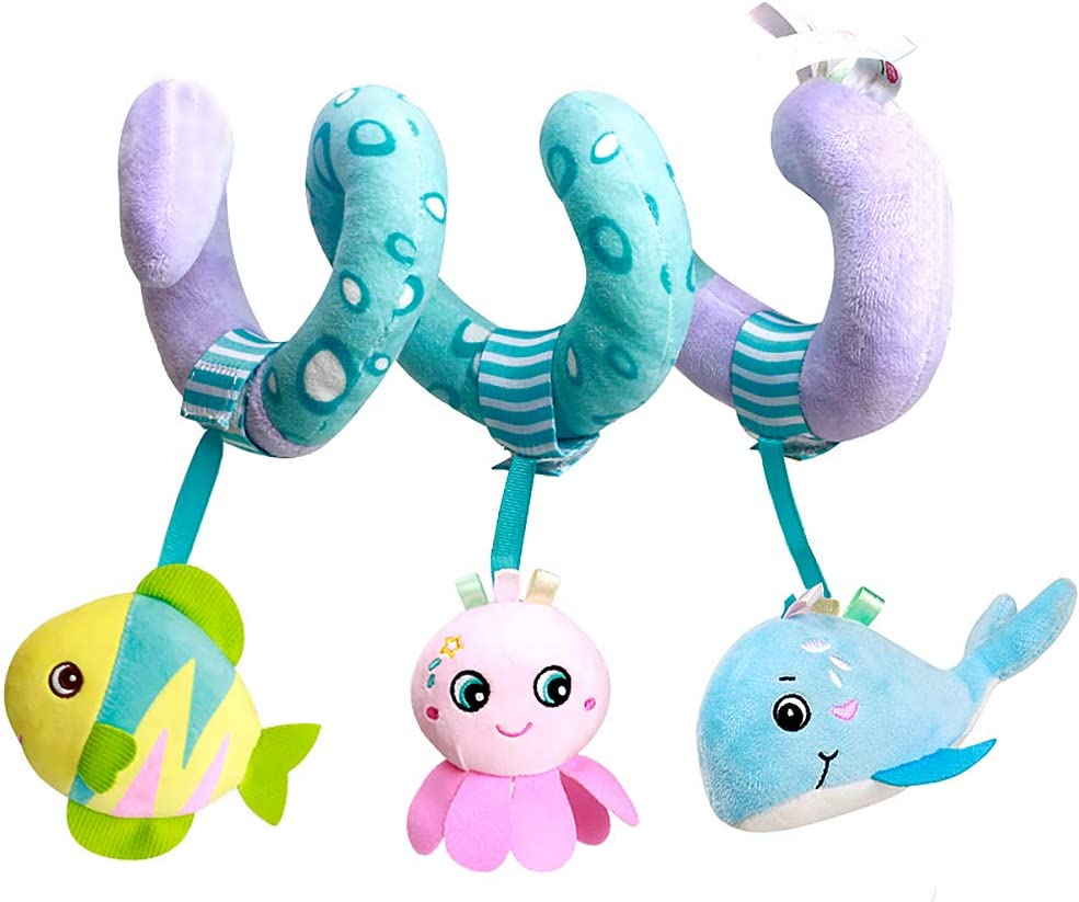 Caterbee Car Seat Toys, Baby Activity Spiral Plush Stroller bar Toy Accessories, Crib Toys with Bell for boy or Girl, Hangings Rattle Toy(Ocean)