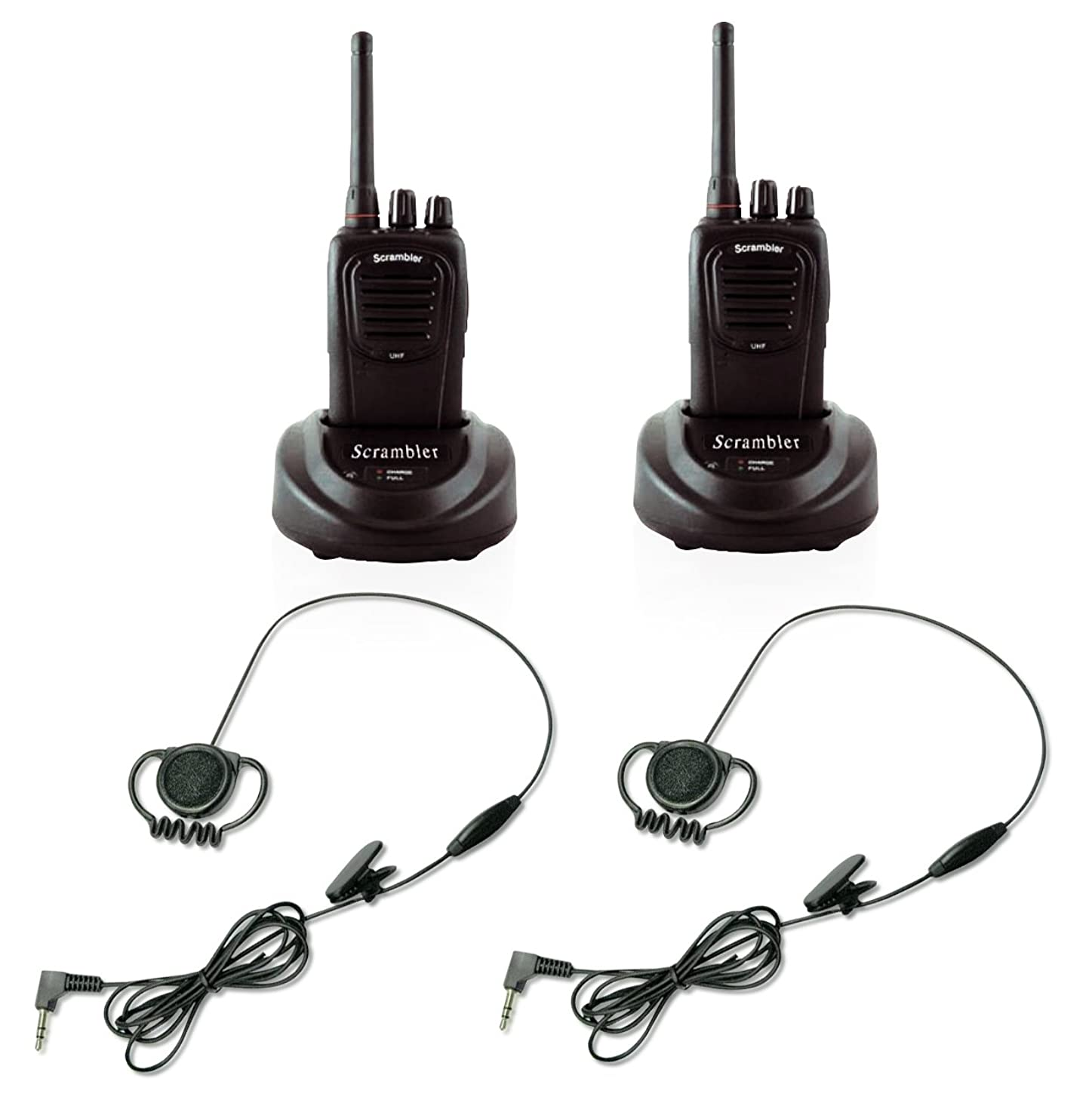 Eartec Scrambler SC-1000 FRS 2 Way Radio System for 2 Users - 2-Pack of UHF Transceivers with Detachable PTT Headsets