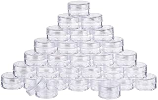 BENECREAT 30 Pack 15ml Empty Clear Plastic Bead Storage Container Jar With Rounded Screw-Top Lids For Beads, Nail Art, Gli...