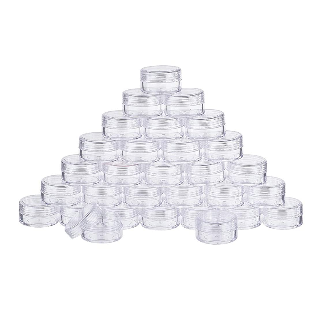 落ち込んでいる比類なき滝BENECREAT 30個セット15ml透明収納ボックス 化粧品用小分け容器 アクセサリー収納ボックス 蓋つき 丸型 ビーズ?小物 DIY工芸品