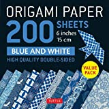 Origami Paper 200 sheets Blue and White Patterns 6' (15 cm): High-Quality Double Sided Origami Sheets Printed with 12 Different Designs (Instructions for 6 Projects Included)